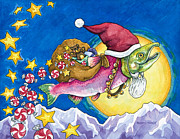 Salmon Paintings - Salmon Claus Is Coming To Town by Kristy Tracy