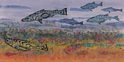 River Tapestries - Textiles Prints - Salmon in the Stream Print by Carolyn Doe
