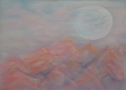 Salmon Pastels Prints - Salmon Moon Rising Print by Jocelyn Paine