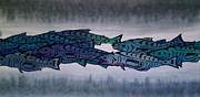 River Tapestries - Textiles Metal Prints - Salmon Passing Metal Print by Carolyn Doe