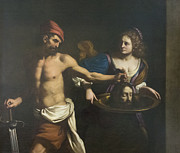 Guercino Framed Prints - Salome and the head of John the Baptist Framed Print by Stefano Baldini