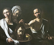 Caravaggio Posters - Salome receives the head of John the baptist by Caravaggio Poster by Stefano Baldini