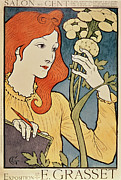 Flower Art Drawings - Salon des Cent by Eugene Grasset