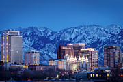 Snowy Evening Prints - Salt Lake City Print by Brian Jannsen