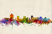 Lake Digital Art Prints - Salt Lake City Skyline Print by Michael Tompsett