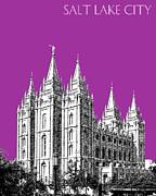 Salt Lake City Skyline Mormon Temple - Plum Print by DB Artist