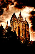 Night Angel Framed Prints - Salt Lake City Temple Framed Print by Lane Erickson