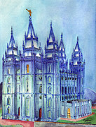 Salt Lake Painting Prints - Salt Lake City Temple Print by Matthew Marshall
