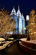 Night Angel Framed Prints - Salt Lake City Temple Square Christmas Lights  Framed Print by Lane Erickson