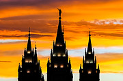 Jesus Christ Icon Prints - Salt Lake City Temple Sunset Print by Kirk Strickland