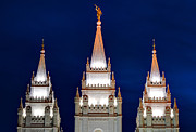 Angel Moroni Prints - Salt Lake LDS Mormon Temple at Night Print by Gary Whitton