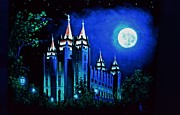 Salt Lake Painting Prints - Salt Lake LDS Temple in Black Light Print by Thomas Kolendra