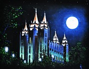 Salt Lake Painting Prints - Salt Lake Mormon LDS Temple Print by Thomas Kolendra