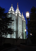 Salt Lake Mormon Temple At Night Print by Gary Whitton