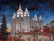 Lake Painting Framed Prints - Salt Lake Temple Framed Print by Jeff Brimley