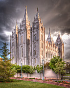 Lawn Framed Prints - Salt Lake Temple Framed Print by Niels Nielsen