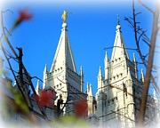 Angel Moroni Framed Prints - Salt Lake Temple Top Framed Print by Heidi Manly