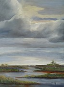Tidal Basin Paintings - Salt Marsh Storm II by Sally Simon
