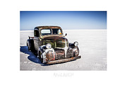Dry Lake Racing Posters - Salt Metal Pick Up Truck Poster by Holly Martin