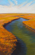 Kayaking Pastels Posters - Salt Prairie Poster by Ed Chesnovitch