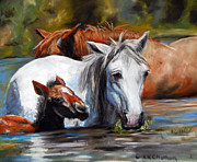 Mustang Pastels Metal Prints - Salt River Foal Metal Print by Karen Kennedy Chatham