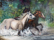 Horses In Print Framed Prints - Salt River Horseplay Framed Print by Karen Kennedy Chatham