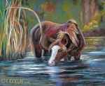 Mustang Pastels Metal Prints - Salt River Peace Metal Print by Karen Kennedy Chatham