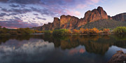 Peter James Nature Photography Posters - Salt River Twilight Poster by Peter Coskun