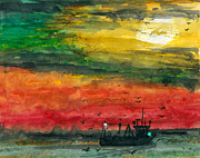 Gloaming Mixed Media Prints - Salt Water Print by R Kyllo