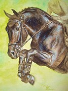 Stallone Paintings - Saltado- Jumping Black Horse by Dorota Zdunska