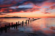 Old Fence Posts Prints - Saltair Sunset Print by Johnny Adolphson