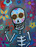 Mexicano Painting Metal Prints - Salud Dia De Los Muertos Metal Print by Pristine Cartera Turkus