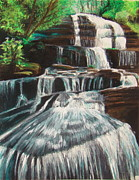 Hike Drawings - Saluda River Falls by Caroline  Reid