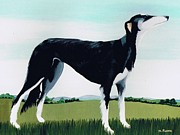 1991 (acrylic On Canvas) Dog; Dog Prints - Saluki Cross Print by Maggie Rowe