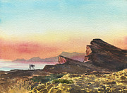 Arabia Painting Framed Prints - Saluki Sunrise Framed Print by Alan Reed