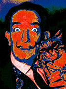 Kitten Digital Art - Salvador Dali and Friend 20130212v1 by Wingsdomain Art and Photography