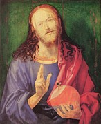 Jesus Art Painting Framed Prints - Salvator Mundi 1504 Framed Print by Albrecht Durer