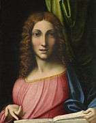 Bible Painting Prints - Salvator Mundi Print by Antonio Allegri Correggio