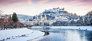 Salzburg Posters - Salzburg panorama in winter Poster by JR Photography