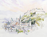 Quiet Painting Prints - Salzburg Sunrise  Print by Clive Metcalfe