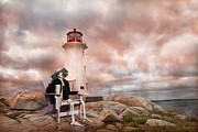 Timing Digital Art Framed Prints - Sam and an Evening at Peggys Cove Framed Print by Betsy A Cutler East Coast Barrier Islands
