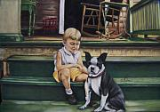 Front Porch Pastels Prints - Sam and Gippy Print by Leah Wiedemer