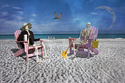 Sam And His Friend Visit Long Boat Key Print by Betsy A Cutler Islands and Science
