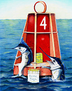 Sailfish Drawings Posters - Sam and Ralph Poster by Karen Rhodes