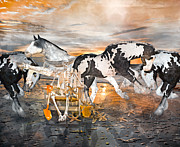 Equine Mixed Media Prints - Sam and the Horses Print by Betsy A Cutler East Coast Barrier Islands