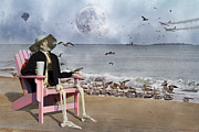 Cloudy Day Digital Art - Sam and the Seagulls by Betsy A Cutler East Coast Barrier Islands