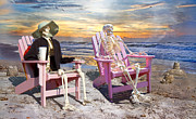 Pink Sunrise Framed Prints - Sam Exchanges Tales with an Old Friend Framed Print by Betsy A Cutler East Coast Barrier Islands