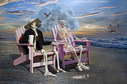 Human Skeleton Art - Sam Exchanges with an Old Friend II by Betsy A Cutler East Coast Barrier Islands