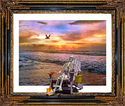 Topsail Island Digital Art Framed Prints - Sam Hangs out with the Sunrise Framed Print by Betsy A Cutler East Coast Barrier Islands