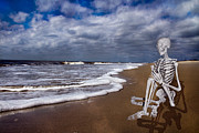 Human Skeleton Digital Art - Sam Looks to the Ocean by Betsy A Cutler East Coast Barrier Islands